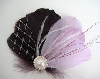 Wedding Bridal Eggplant Purple Lilac Feather Rhinestone Jewel White Veiling Head Piece Hair Clip Fascinator Accessory