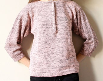 80s New Wave Sweater, 3/4 sleeve heather knit pullover, grey & blush pink peach soft pastel color, simple slouchy hipster henley shirt