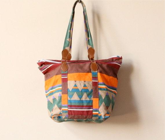 Navajo Print Canvas Tote Bag, vintage 80s 90s warm fall color Native American tribal Southwestern boho oversized book satchel purse