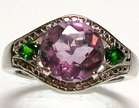 """Reserved for Kat - Fluorite and chrome diopside accent cocktail ring set in sterling silver s9 gifts for her       """"Happy go Lucky"""""""