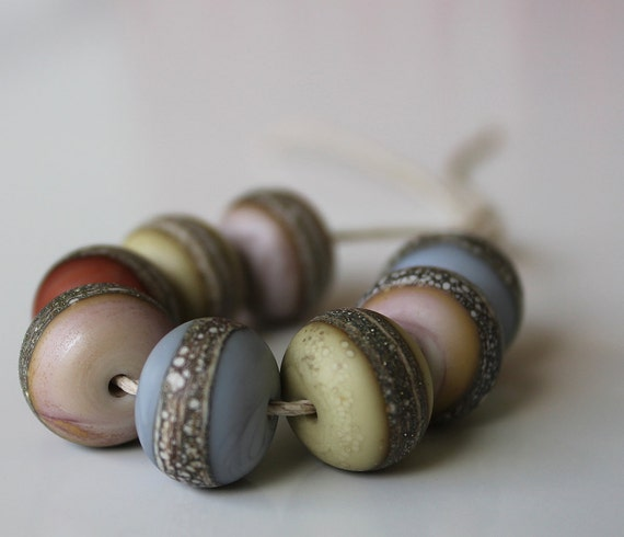 glass bead set in pastels organic etched lampwork