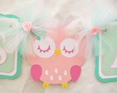 Pink owl baby shower banner,  its a girl, teal, white and pink