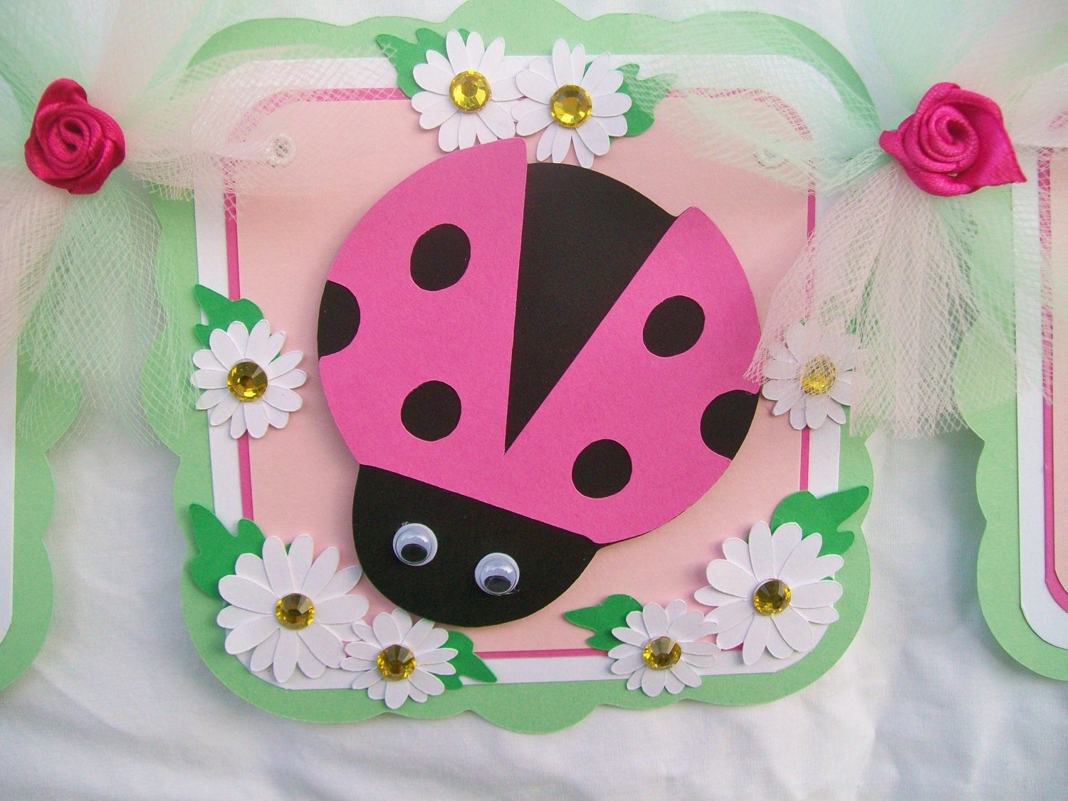 items similar to pink ladybug banner baby shower banner pink mint