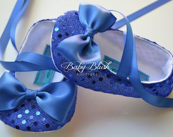 Royal Blue Sequin Baby Shoes Baby Ballerina Slipper