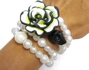 Day of the Dead Bracelet Sugar Skull Cuff Wrap Black Yellow White Rose
