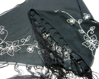Black Scarf Shawl Hair Tie Head Wrap Embroidered Fringed