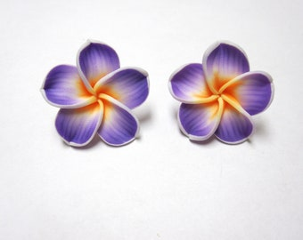 Lilac Purple Floral Earrings Sweet Hibiscus Post Earrings