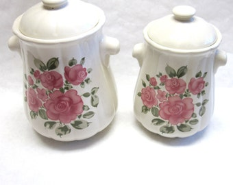 Country Rose Canisters Red Pink Ceramic