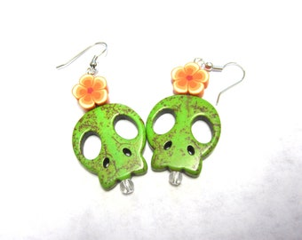 Skull Earrings Zombie Green Sugar Skull Day of the Dead Jewelry