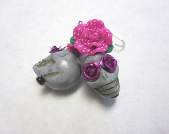 Gray Sugar Skull Earrings Day Of The Dead Jewelry Grey Fuchsia Rose Flower