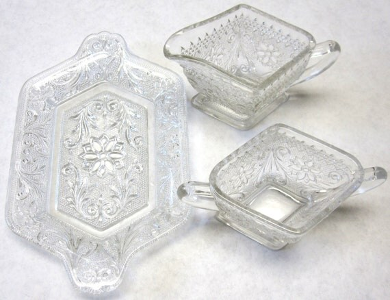 Sandwich Glass Cream Pitcher and Sugar Bowl Set Clear Cut  Serving Tray