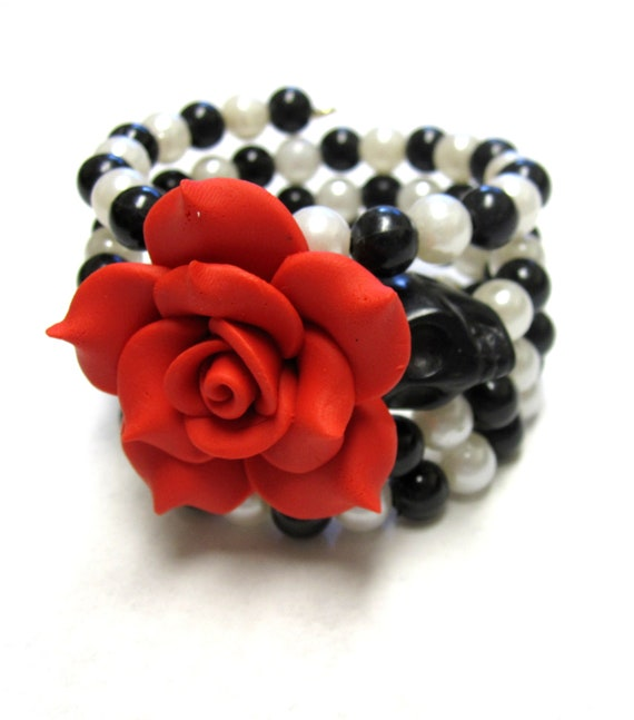Day of the Dead Bracelet Sugar Skull Cuff Wrap Memory Wire White Black Red Rose