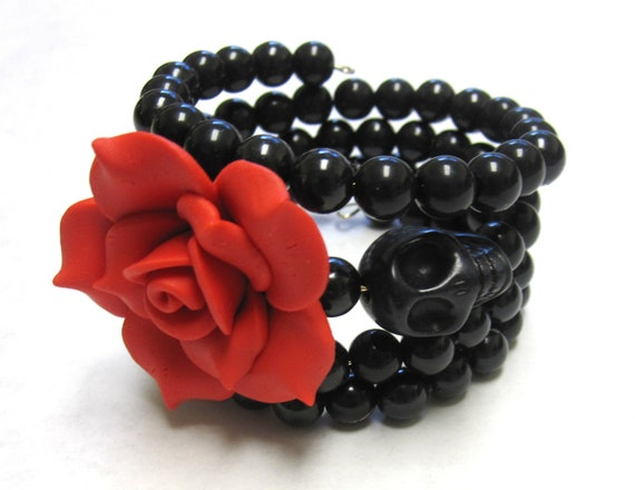 Day of the Dead Bracelet Sugar Skull Cuff Wrap Memory Wire Black Red Rose