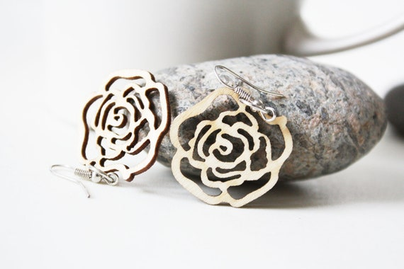Buy 3 get 1 FREE//Wooden Roses  Laser Cut  ,Naturally Beauty Recycle Wood  Earring