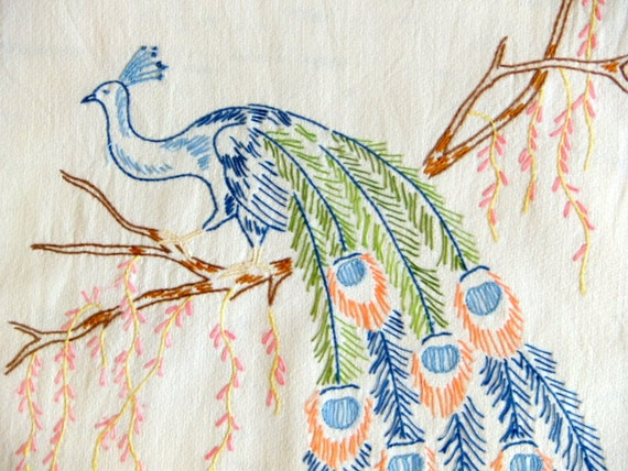 Embroidered Peacock Runner