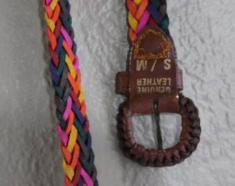 mexican genuine woven leather belt with colors