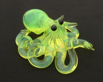 Small Glass Octopus pendant Radioactive Ooze