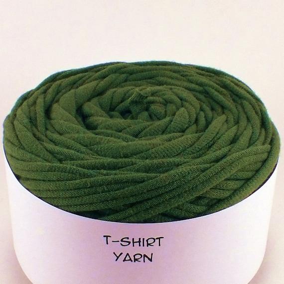 Cotton, Tshirt yarn, Army Green, 36 yards, 6 wpi