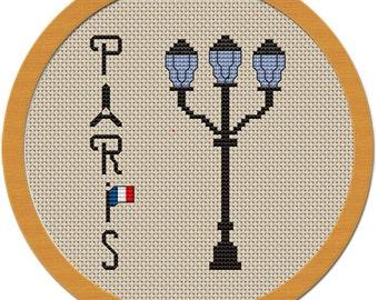 A lantern in Paris Cross Stitch Pattern PDF File