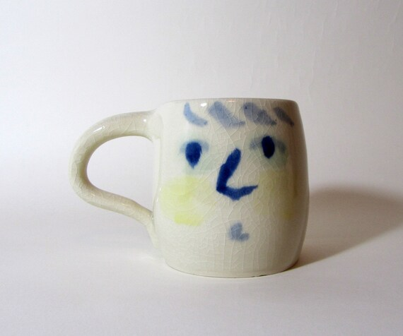 Large FACE Mug, abstract expression, for coffee or tea