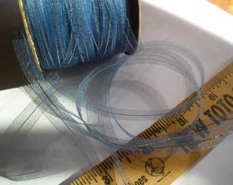 Vintage Pure Silk Woven Organdy Ribbon -150 yards Spool -French Blue with Silver Metallic -embroidery Gift tie embellish scrapbook trim yarn