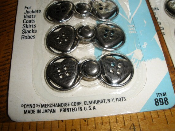 Cool Vintage Metal Button Clasps -Heart Shape Coat Closure antique silver pewter color sew on sewing DYNO Item 898 4 piece sets