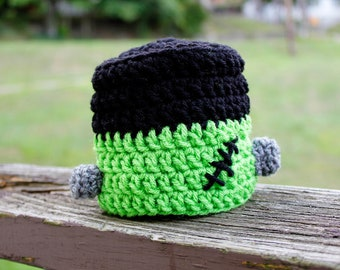 Newborn, Infant, Child Size Crochet Halloween Frankenstein Hat