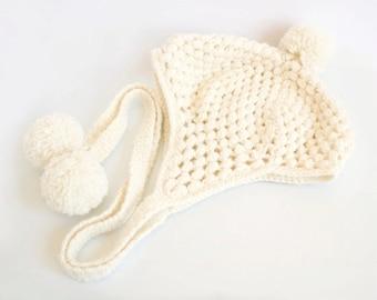 Pom Pom Ear Flap Hat in Ivory White, Merino Wool, Alpaca Wool, Hand-knitted Winter Accessories