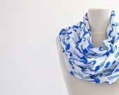 Women Scarf Cotton Scarf Long Scarf Women Accessories Blue White Marine Pelikan