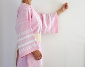 Bridesmaids Robe Wedding Robe Bathrobe Peshtemal Kimono Robe Pink Cotton Candy Handmade Eco Friendly Obi Belt Pale Thin Delicate