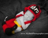 Crochet Fireman Hat Diaper Set with Suspenders and Boots/ Newborn up to 3 months/ COMPLIMENTARY SHIPPING