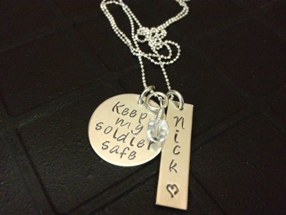 Hand Stamped Jewelry - Keep My Soldier Safe - Sterling Silver Hand Stamped Necklace