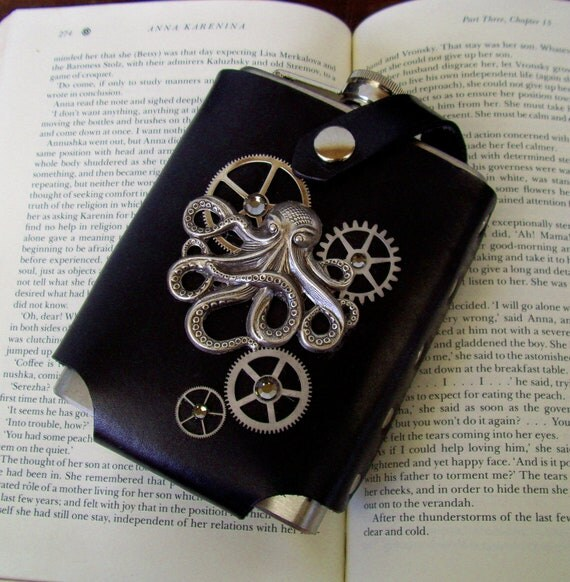 Steampunk Flask (F86) - Black Leather Holster - 8 ounce Stainless Steel Flask - Kraken and Gears - Swarovski Crystals