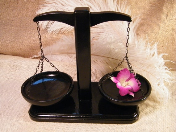 Black Wood Scale - Zodiac Sign Libra Art - Lawyer Scale of Justic - Decorative Scale Upcycled for home or office decor