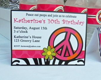 Hot Pink Zebra Peace Sign Printable or Printed with FREE SHIPPING - Chic Peace Party Collection