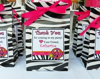 Hot Pink Zebra Peace Sign Favor Tags Printable - Chic Peace Party Collection