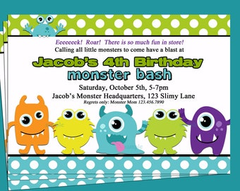 Monster Invitation Printable or Printed with FREE SHIPPING - My Cute Lil' Monster Collection