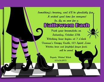 Halloween Invitation Printable or Printed with FREE SHIPPING - ANY Wording - Modern Witch