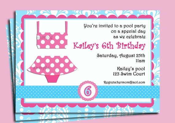 Girl'S Pool Party Invitation Printable Or Printed With