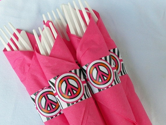 Hot Pink Zebra Peace Sign Napkin Rings Printable - Instant Download - Chic Peace Party Collection