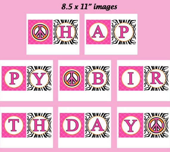 Hot Pink Zebra Peace Sign Happy Birthday Banner By