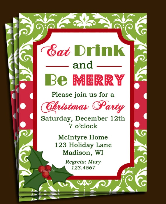 Christmas party invitation printable or printed with free like this item stopboris Gallery