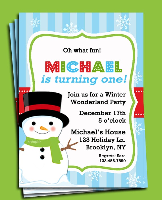 Snowman invitation printable or printed with free shipping christmas