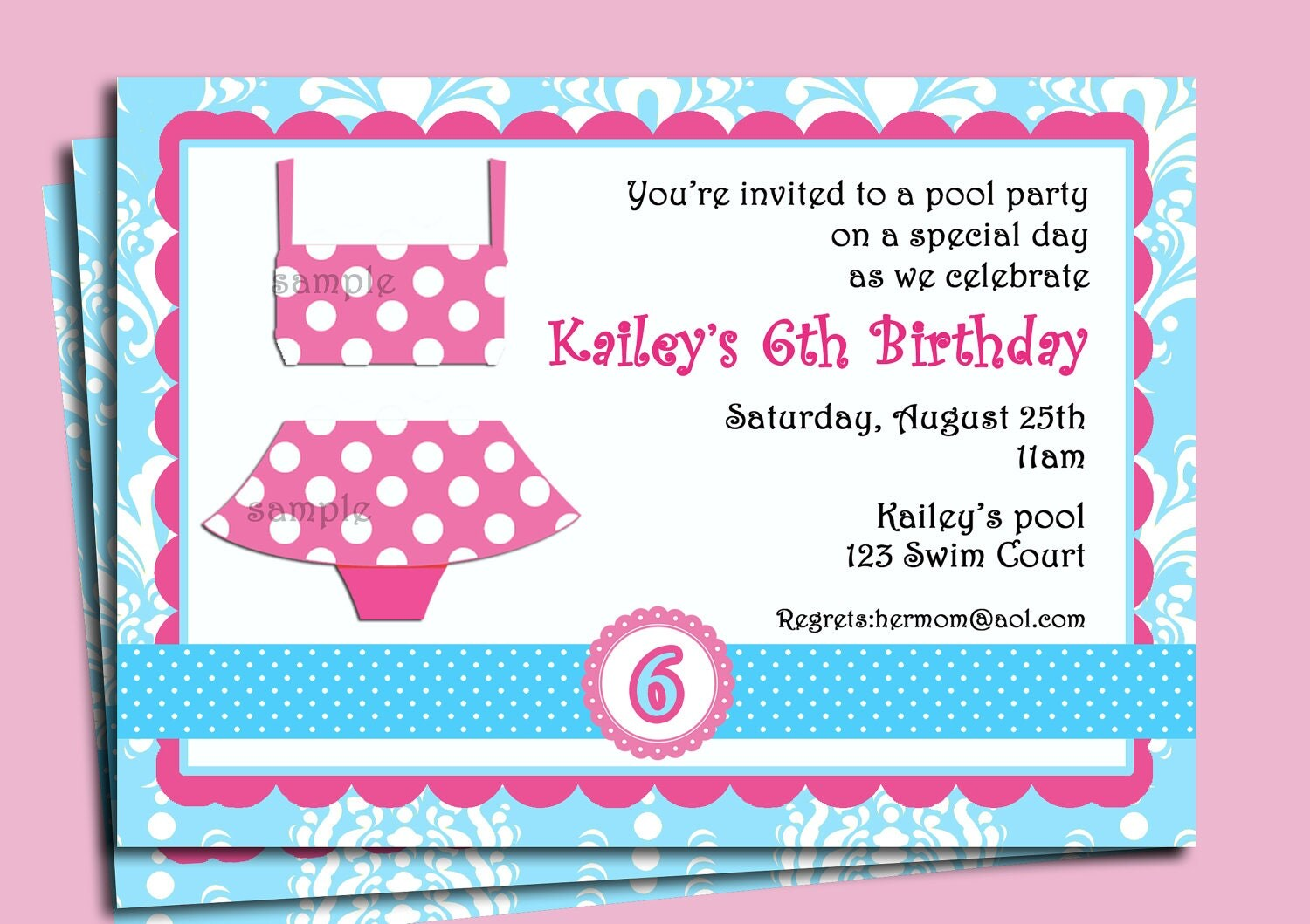 girl's pool party invitation printable or printed with, invitation samples