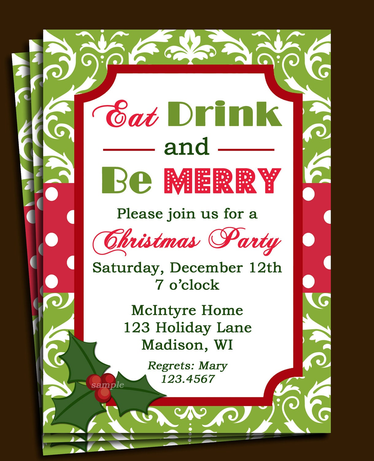 Items similar to Christmas Party Invitation Printable - Green Damask ...: www.etsy.com/listing/112991799/christmas-party-invitation-printable