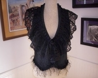 OOAK REstyled womans vest RUFFLES and Lace