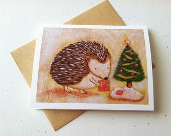 Hedgehog Christmas Card by Megumi Lemons