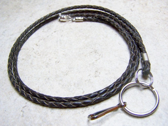 "Unisex, Braided Leather 3mm, Id Lanyard,  Brown 36""  by Eyewearglamour on Etsy"