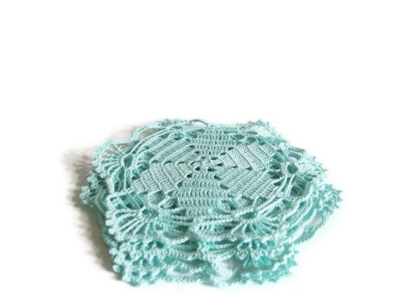Hostess gift, Christmas, Crochet coasters, Set of 4, Aqua blue Mug coasters,  Bright turquoise Flower doily