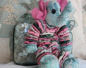 Soft Sculpture Yo-Yo Toy - ELLIE THE ELEPHANT - Colors Of Pink-Green-Peach & Turquoise